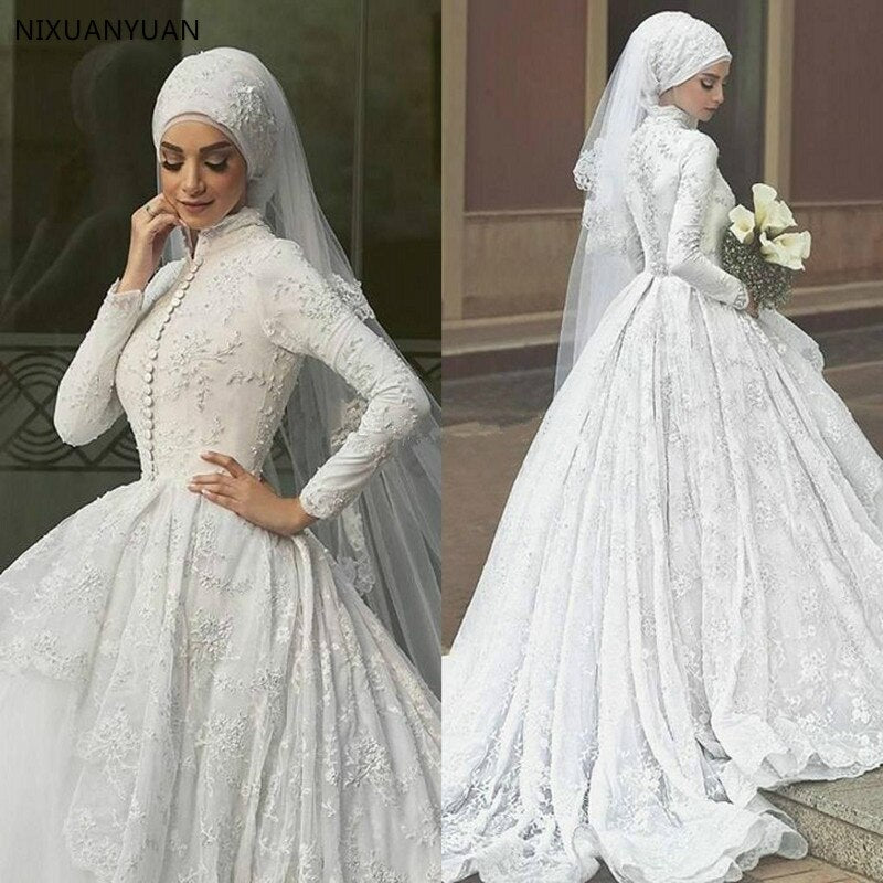 High Quality A-Line White Chiffon Bridal Gowns Long Sleeve Muslim Wedding Dress with Hijab Embroidery Arabic Wedding Dress - Smoulder Products
