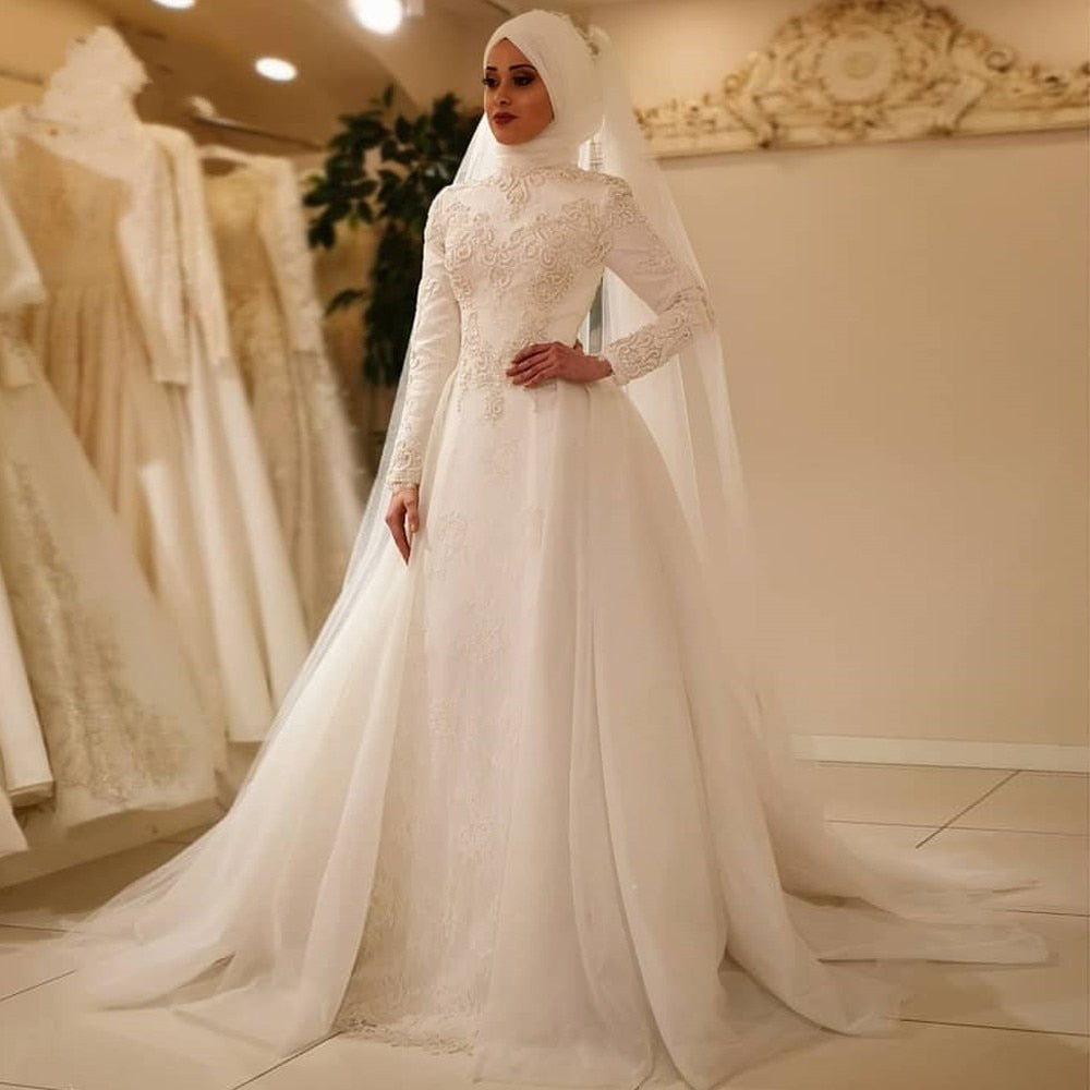 MYYBLE 2020 Vestido De Noiva Elegant Long Sleeve O Neck Muslim Wedding Dresses Tulle Zipper Back Lace Islamic Wedding Gowns - Smoulder Products