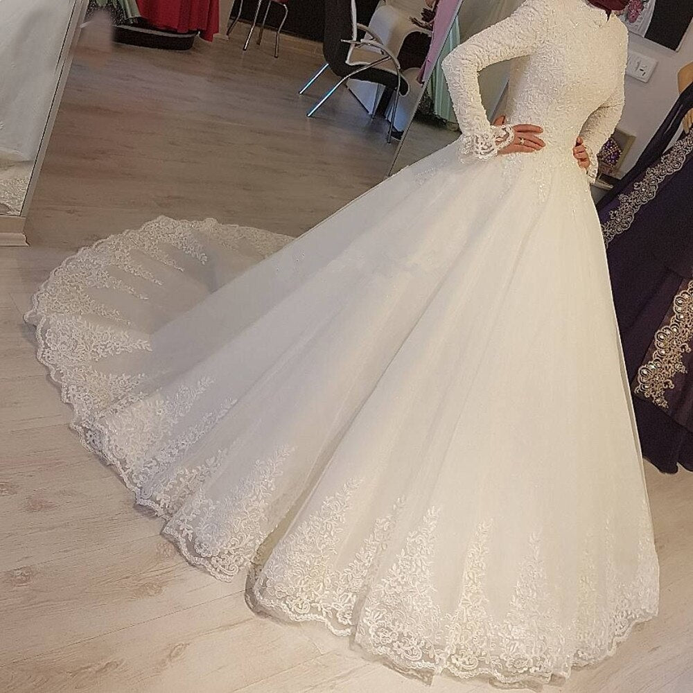 2020 White Arabic Muslim Wedding Dresses Princess High Neck Long Sleeves Lace Appliques Bridal Dresses Robe De Mariage - Smoulder Products