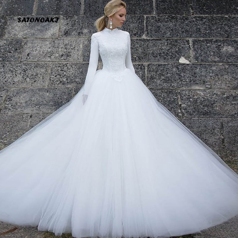 Muslim White Wedding Dress for Women Long Sleeves 2020 Vestido Noiva Vintage Bridal Robe De Mariage India Online Shop Undefined