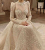 Vintage Vestidos De Novias High Collar O Neck Bling Bling Glitter Fabric Long Sleeve Ball Gown Muslim Wedding Dresses - Smoulder Products