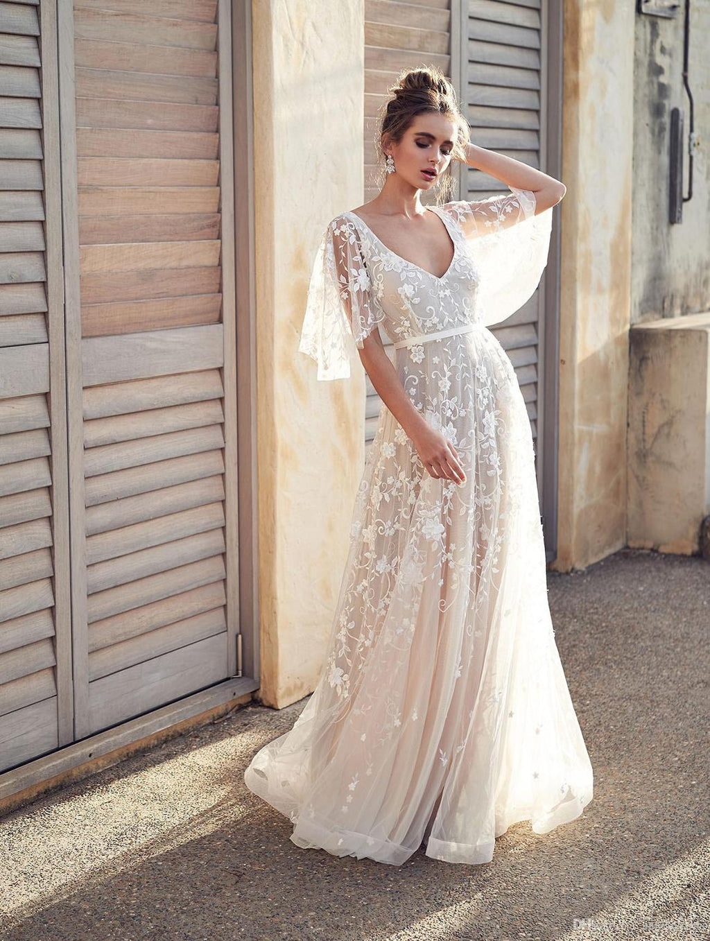 Beach Vestido De Noiva 2019 Muslim Wedding Dresses A-line V-neck Tulle Appliques Lace Backless Boho Wedding Gown Bridal Dress - Smoulder Products