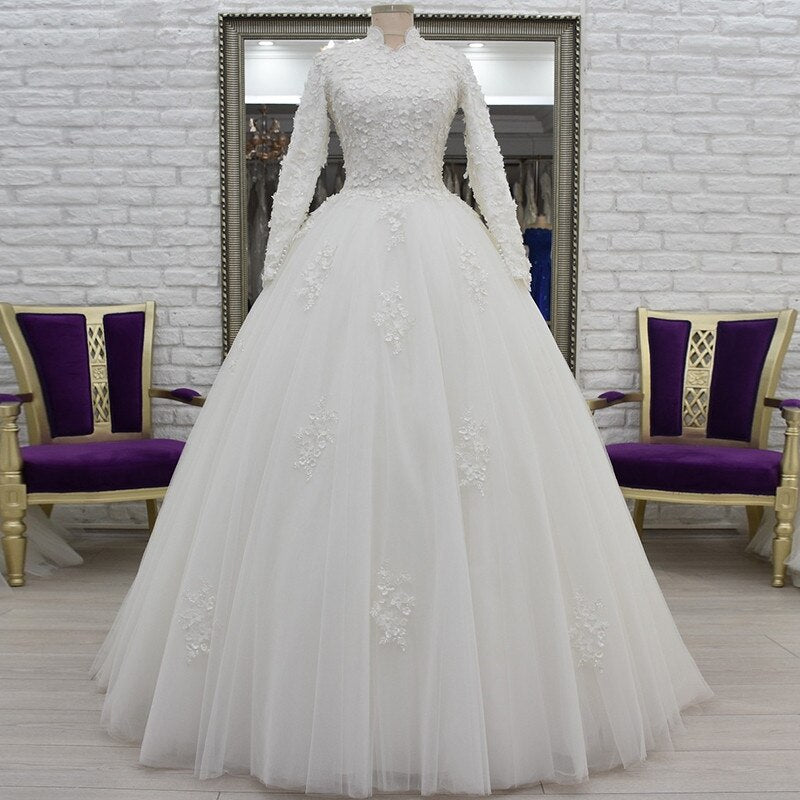 Vestido De Noiva 2020 Muslim Wedding Dresses Dubai High Neck Lace 3D Flowers Pearls Long Sleeves Bridal Dress Robe de Mariage - Smoulder Products