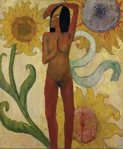 High quality Oil painting Canvas Reproductions Caribbean Woman, or Female Nude with Sunflowers  by Paul Gauguin hand painted - Smoulder Products