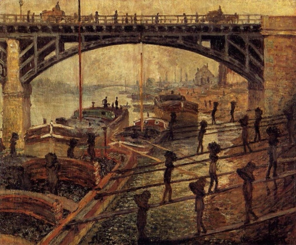 High quality Oil painting Canvas Reproductions Coal Dockers (1875)  by Claude Monet hand painted - Smoulder Products