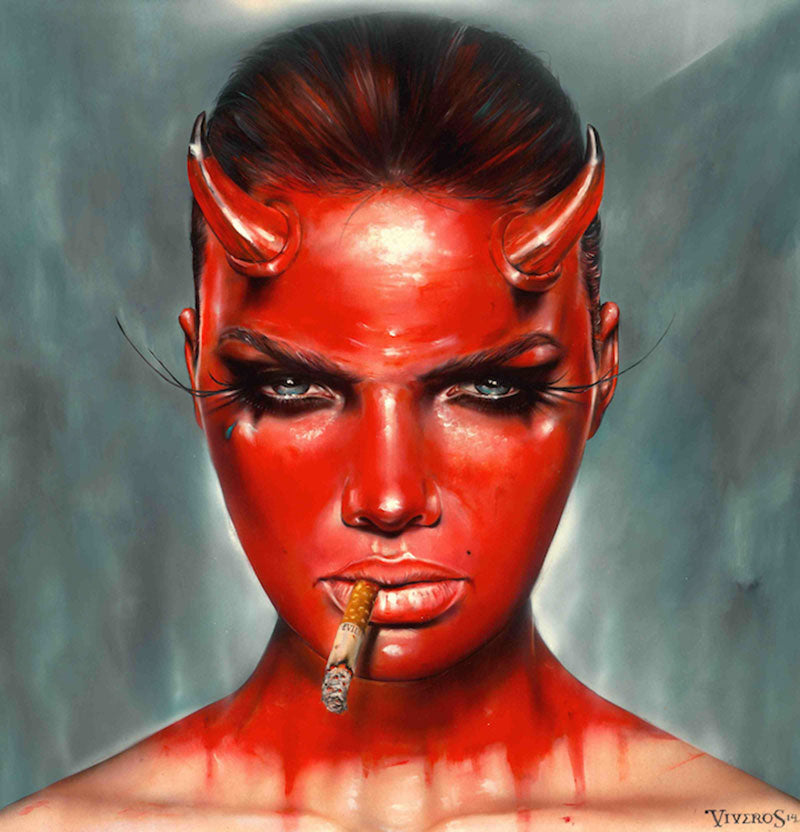 High quality Oil painting Canvas Reproductions DEVIL MADE ME DO IT by Brian M.Viveros Painting hand painted - Smoulder Products