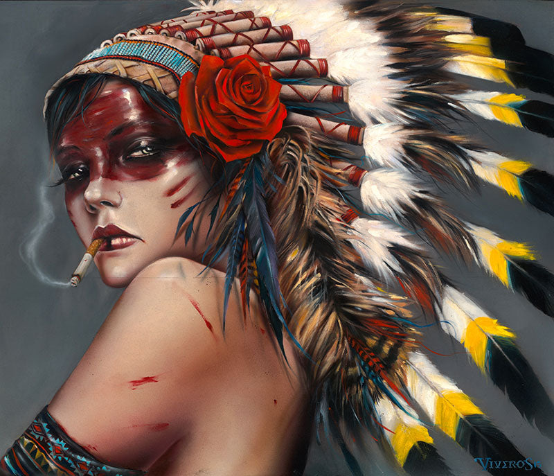 High quality Oil painting Canvas Reproductions HEAD HUNT HER by Brian M.Viveros Painting hand painted - Smoulder Products