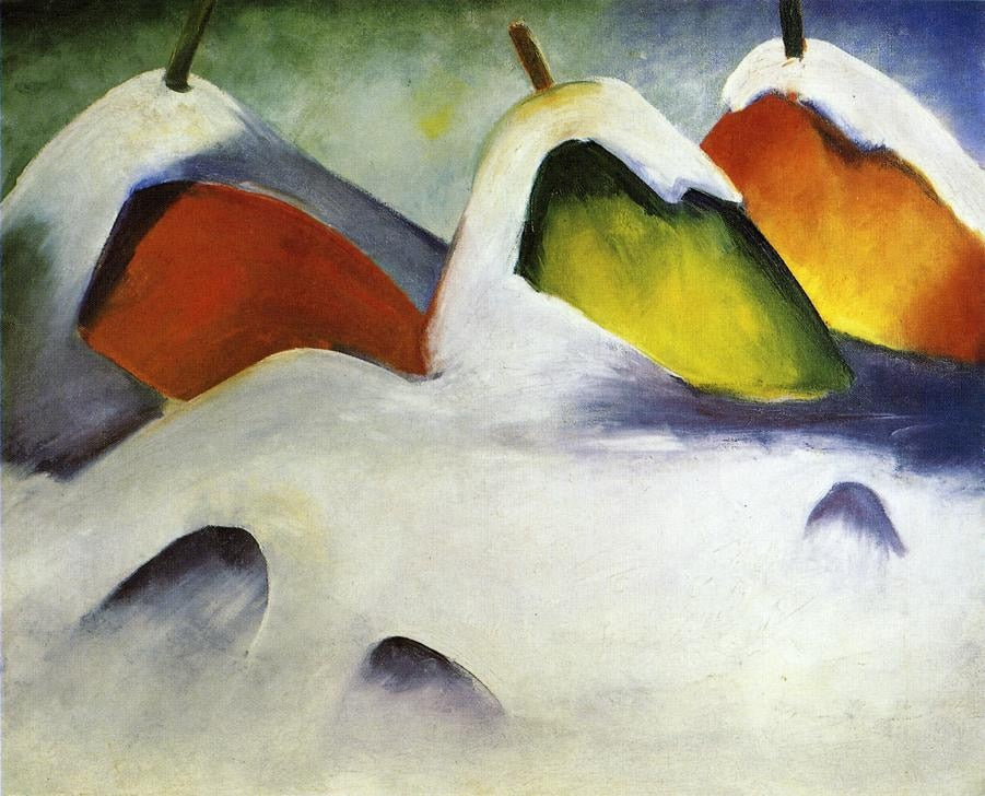 High quality Oil painting Canvas Reproductions Haystacks in the Snow 1911  By Franz Marc  hand painted - Smoulder Products
