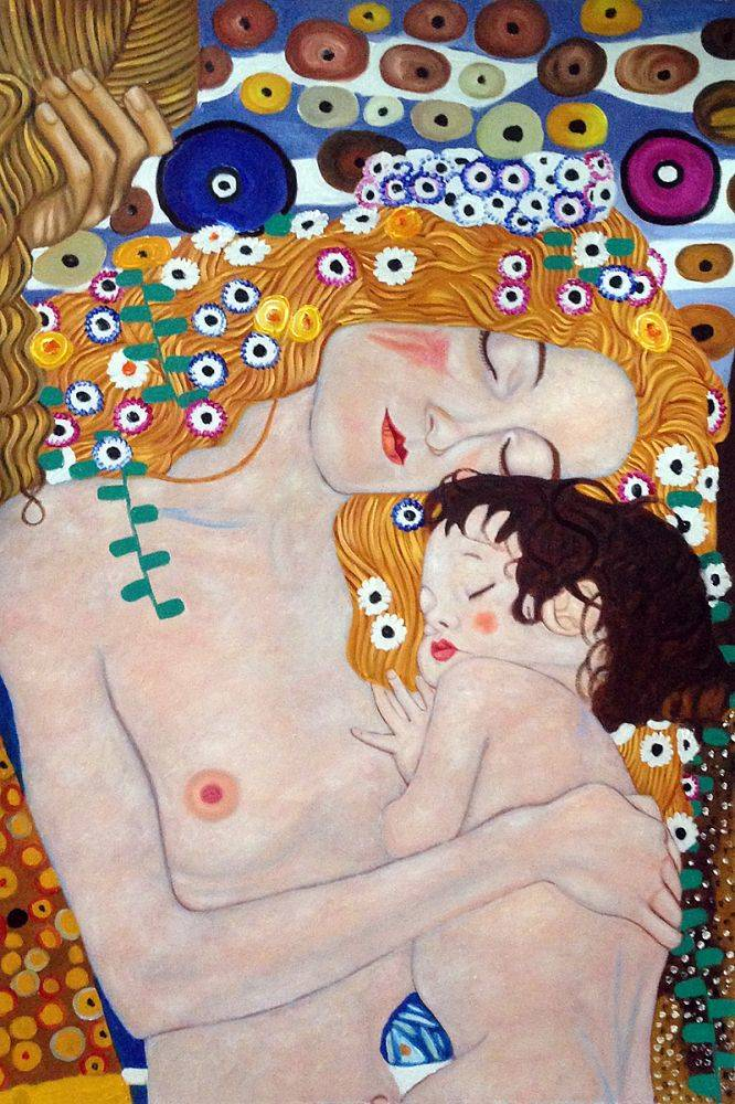 High quality Oil painting Canvas Reproductions Le tre eta della donna (Mother and Child)01 by Gustav Klimt Painting hand painted - Smoulder Products