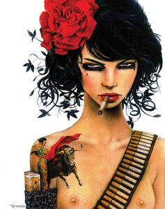High quality Oil painting Canvas Reproductions Mess with the Bull by Brian M.Viveros  Painting hand painted - Smoulder Products