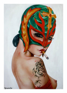 High quality Oil painting Canvas Reproductions Mysterio(wrestle-her II) by Brian M.Viveros  Painting hand painted - Smoulder Products