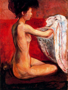 High quality Oil painting Canvas Reproductions Paris Nude (1896) by Edvard Munch Painting hand painted - Smoulder Products