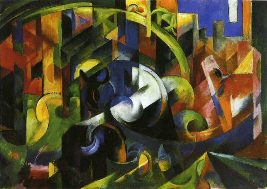 High quality Oil painting Canvas Reproductions Picture with Cattle 1913  By Franz Marc  hand painted - Smoulder Products