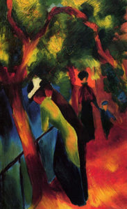 High quality Oil painting Canvas Reproductions Sunny way (1913) By August Macke hand painted - Smoulder Products