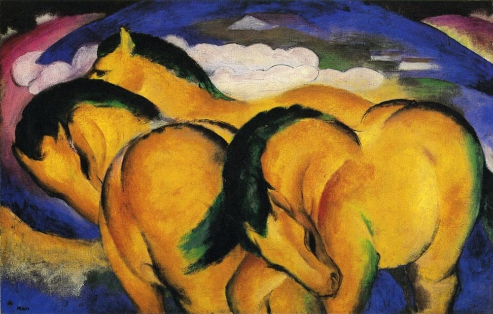 High quality Oil painting Canvas Reproductions The Little Yellow Horses 1912 By Franz Marc  hand painted - Smoulder Products
