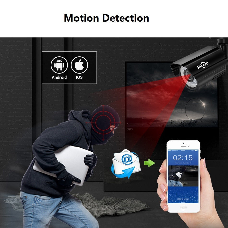 Hiseeu CCTV camera System 4CH 720P/1080P AHD security Camera DVR Kit CCTV waterproof Outdoor home Video Surveillance System HDD - Smoulder Products