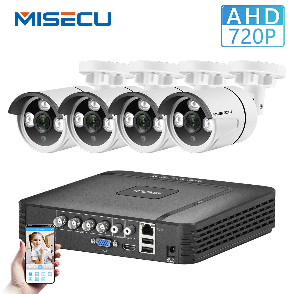 MISECU Home Security Cameras System 4CH 5 in 1 DVR CCTV 720P 2/4PCS Outdoor AHD Camera E-mail Alert XMeye Video Surveillance Kit - Smoulder Products
