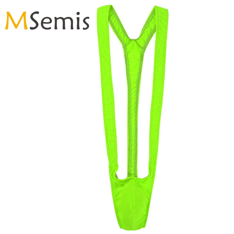 Mens Borat Mankini Swimsuit  Lingerie Open Butt One Piece Swimwear Male Underwear Leotard Bodysuit Monokini Thong Swimming Suit