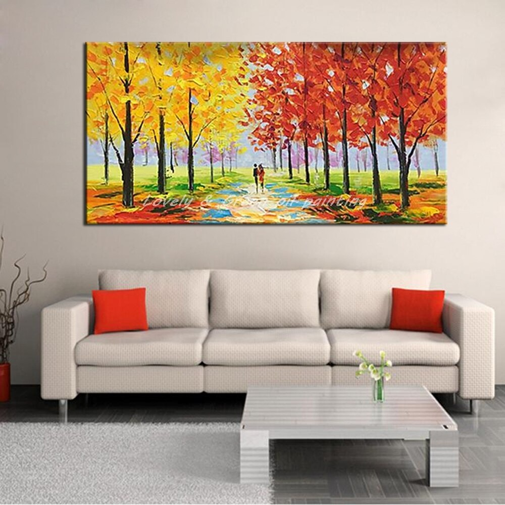 Mintura Hand Painted Palette Knife Tree Oil Painting On Canvas Landscape Art Poster Wall Picture For Living Room Home Decoration - Smoulder Products