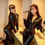New Sexy Ladies Women PU Leather Leotard Rompers WetLook Zipper Jumpsuit Catsuit Clubwear Romper Club Clothes - Smoulder Products