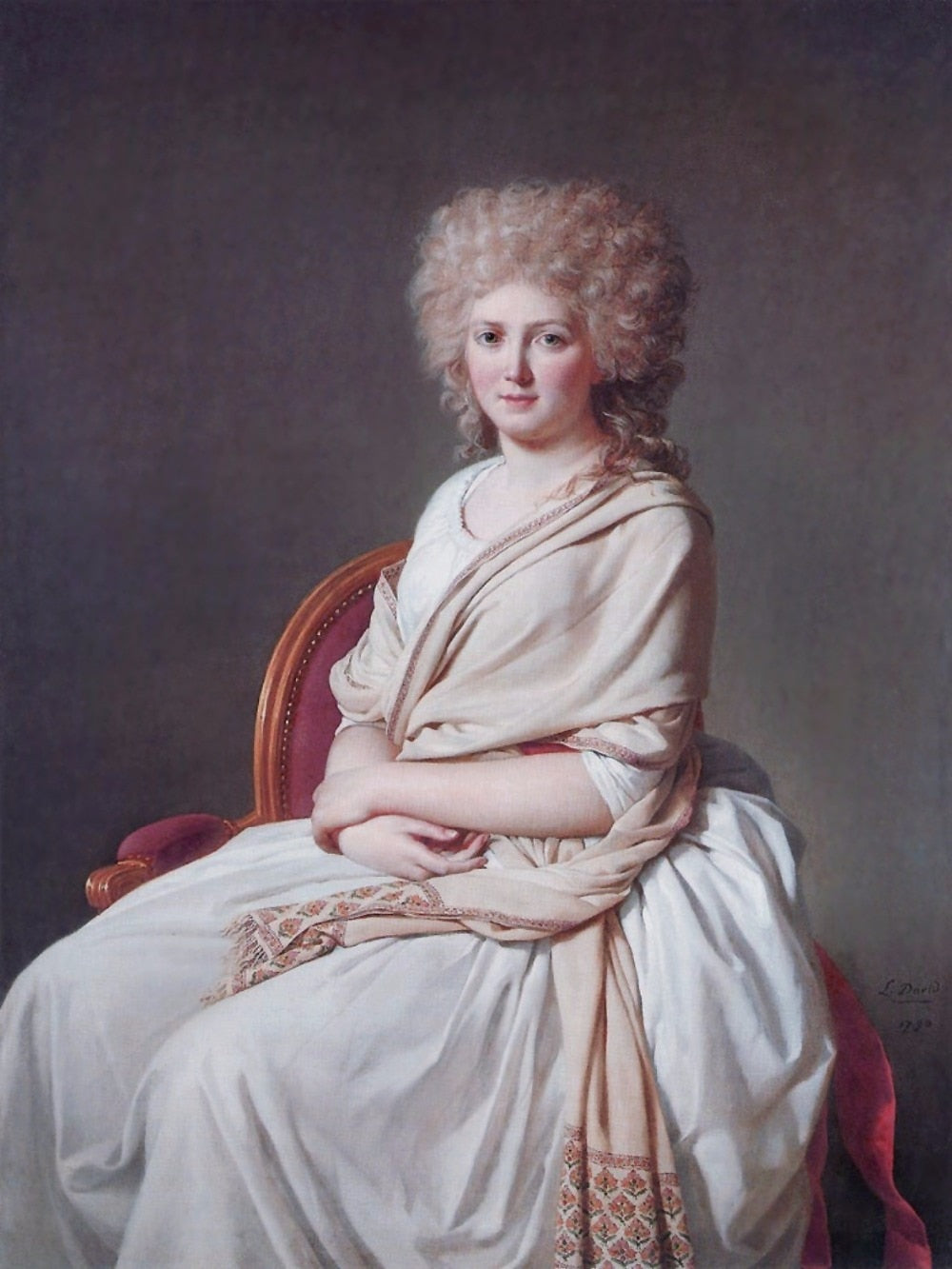 Oil Painting Reproduction on Linen Canvas,portrait-of-anne-marie-louise-thelusson-countess-of-sorcy-1790 by Jacques-Louis David - Smoulder Products