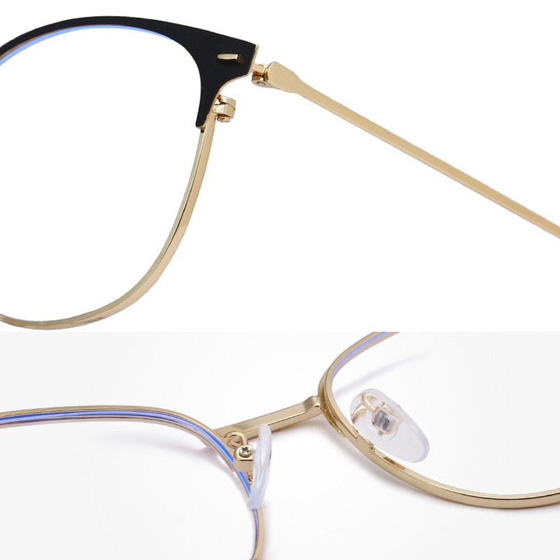 Retro Cat Eyes Glasses Frame Anti Blue Light Men Women Flat Metal Shortsighted Optical Eyeglasses Frame Blue Light Filter Block - Smoulder Products