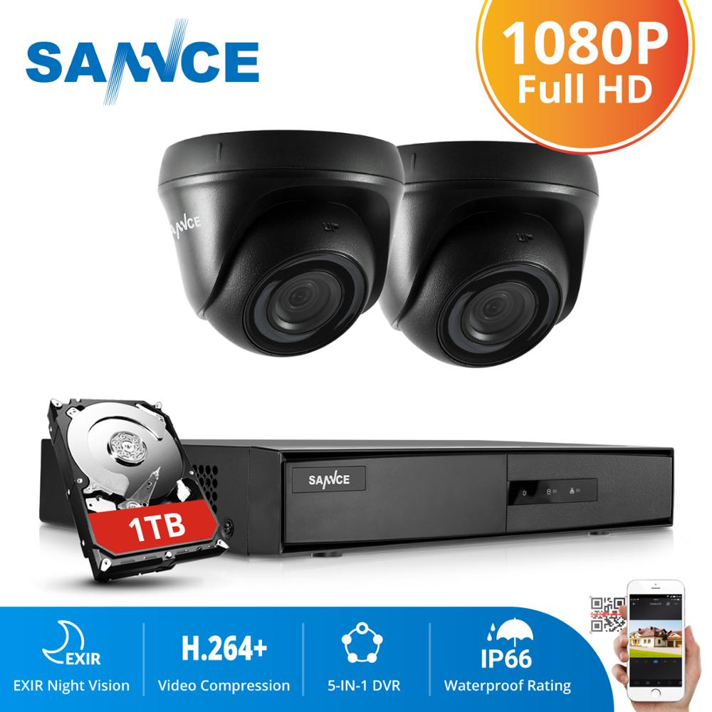 SANNCE 4CH CCTV System 1080P DVR 2PCS 2MP IR Weatherproof Outdoor Video Surveillance Home Security Camera System 8CH DVR Kit - Smoulder Products