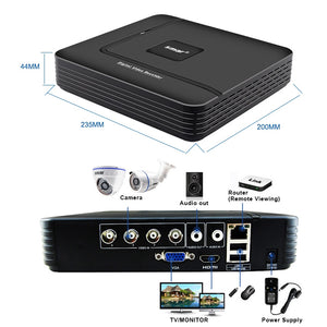 Smar 4CH 1080N 5 in 1 AHD DVR Kit 4PCS 720P/1080P IR AHD Camera Kit CCTV System  Outdoor Waterproof Security Surveillance Set - Smoulder Products