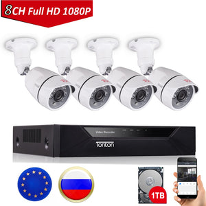 Tonton 8CH 1080P CCTV Security Camera System P2P HDMI H.264 5-in-1 DVR Video Surveillance Waterproof Outdoor Camera Kit 1TB HDD - Smoulder Products