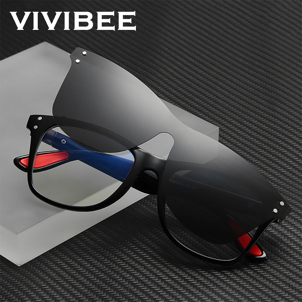 VIVIBEE 2020 Trending Magnetic Clip on Sunglasses Men Polarized Lens Square Anti Blue Light Block Sun Glasses Women Eye Frame - Smoulder Products