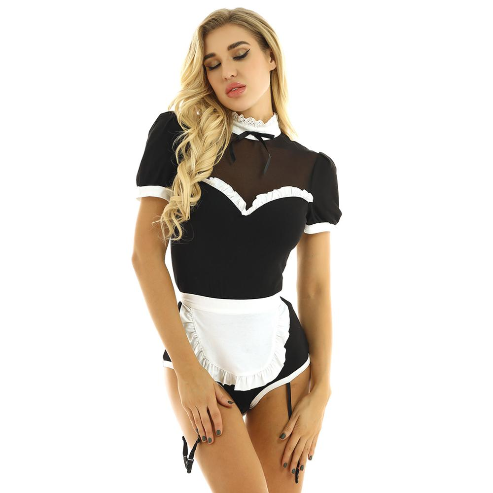 Women's Bodysuit Maid Cosplay Halloween Costume Outfit Lacework Collar Mesh Splice Leotard Bodysuit with Garters Removable Apron - Smoulder Products