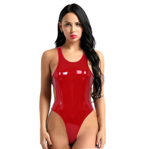Women's Latex Casuit Swimsuit Wetlook Leather Sleeveless Backless High Cut Thong Bodysuit Leotard Lingerie One-piece Bodysuit - Smoulder Products