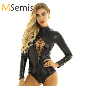 Women's Latex Catsuit Bodysuit One-piece Shiny Metallic Lingerie Round Neck Long Sleeves Front Lace-up Teddy Bodysuit Clubwear - Smoulder Products