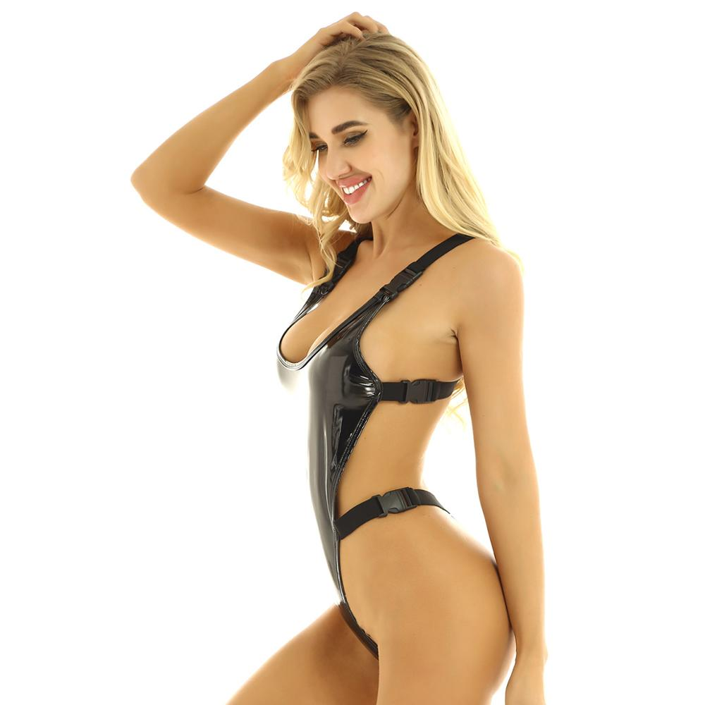 Women's Latex Swimsuit Lingerie Wet Look Patent Leather Bodysuit Deep U Neck Backless High Cut Buckle Thong Leotard Swimwear - Smoulder Products
