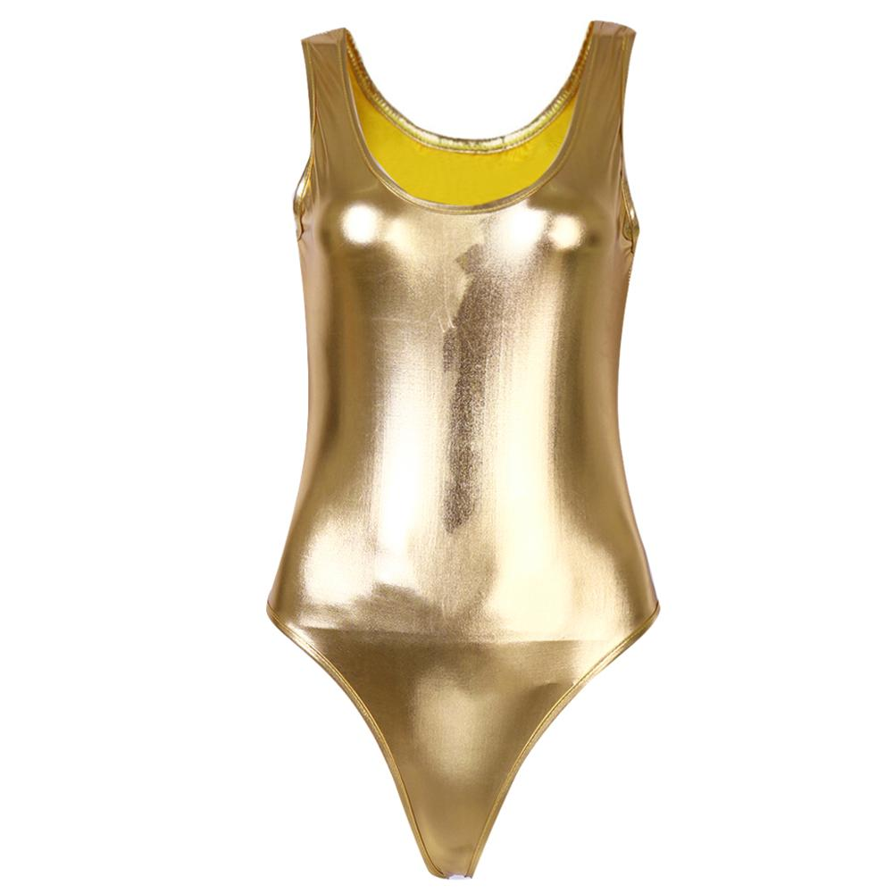 Women's Latex Swimsuit Sleeveless High Cut Wetlook Patent Leather Thong Swimming Bodysuit Jumpsuit Gymnastics Leotard Dancewear - Smoulder Products
