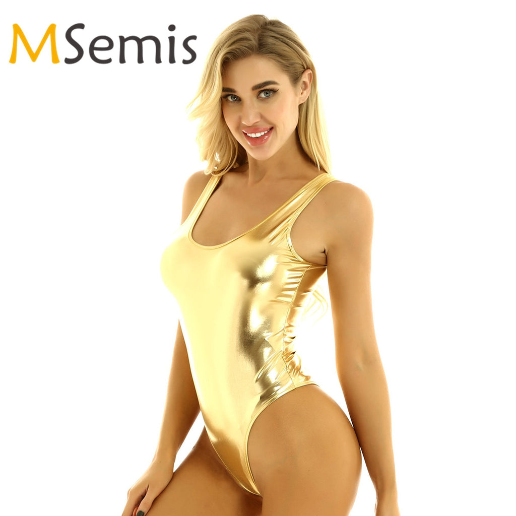 Women's Latex Swimsuit Sleeveless High Cut Wetlook Patent Leather Thong Swimming Bodysuit Jumpsuit Gymnastics Leotard Dancewear