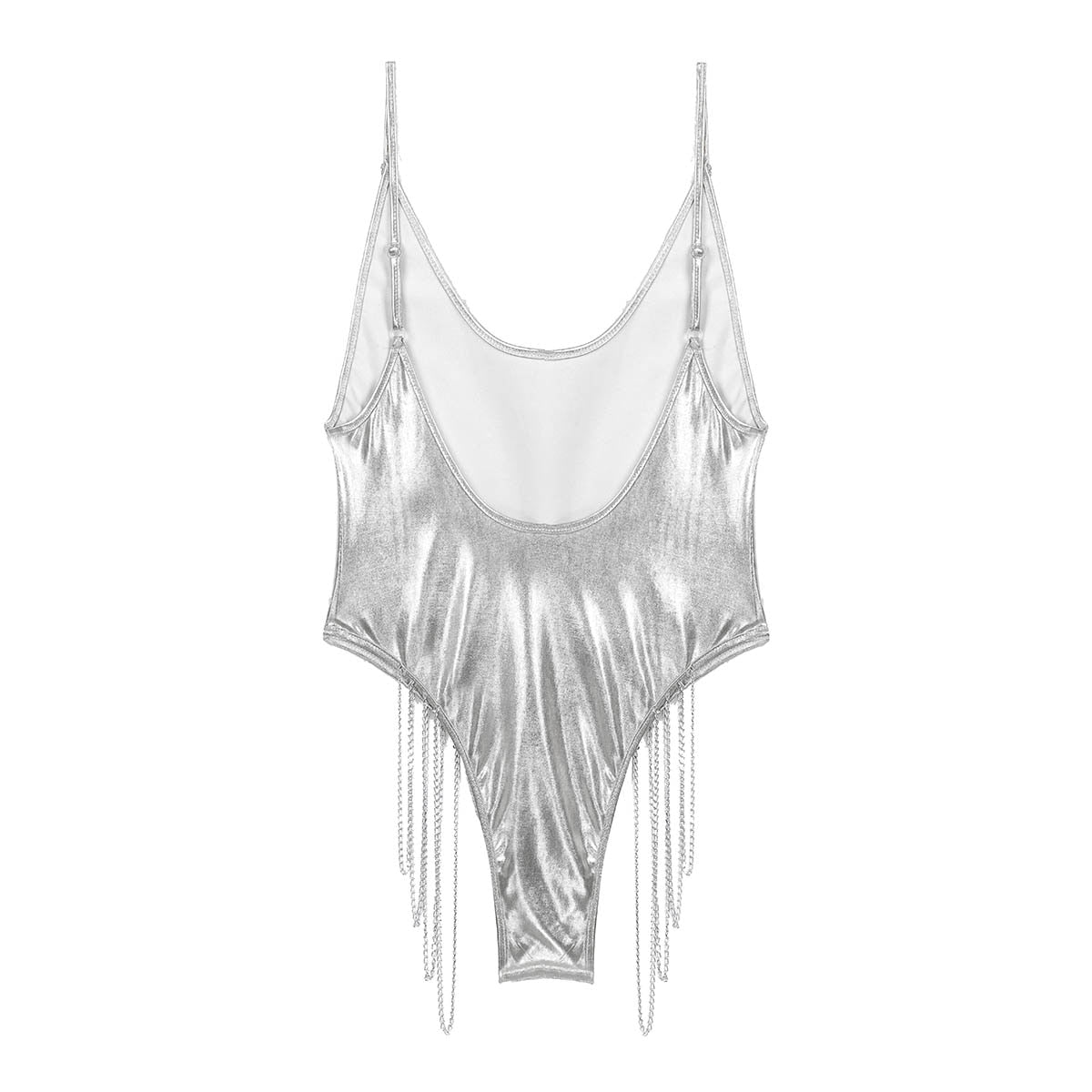Women's Leotard Swimsuit Shiny Metallic Swimwear Jumpsuit Romper with Metal Chain Swimming Suit Wetlook Patent Leotard Bodysuits - Smoulder Products