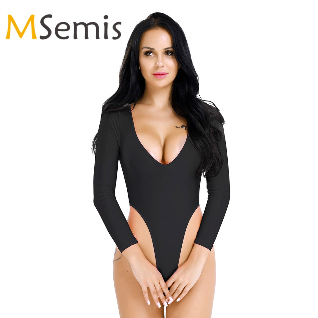 Women's Monokini Thong Swimsuit Thong Leotard One Piece Swimwear Bodysuit Lingerie Bodystocking Long Sleeve High Cut Bodysuit - Smoulder Products