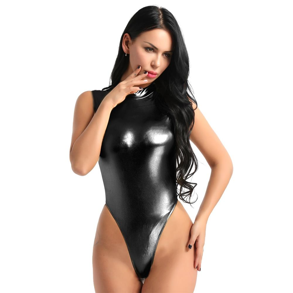 Women's Shiny Latex Leotard Swimsuit Lingerie High Cut Thong Catsuit Homme Body Fit Bodysuit Gymnastics Leotard Female Swimsuit - Smoulder Products