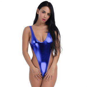 Women's Shiny Swimsuit Thong Leotard Swimwear Gymnastics  Full Swimming Suit High Cut Swim Suit Bodystocking Bodysuit Swim Wear - Smoulder Products