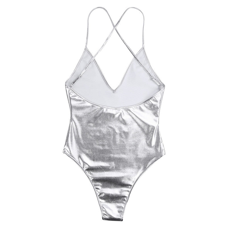 Women's Shiny Swimsuit Thong Monokini Swimwear Thong Swimming Suit Spaghetti Shoulder Bodycon Gymnastics Leotard Swim Bodysuit - Smoulder Products