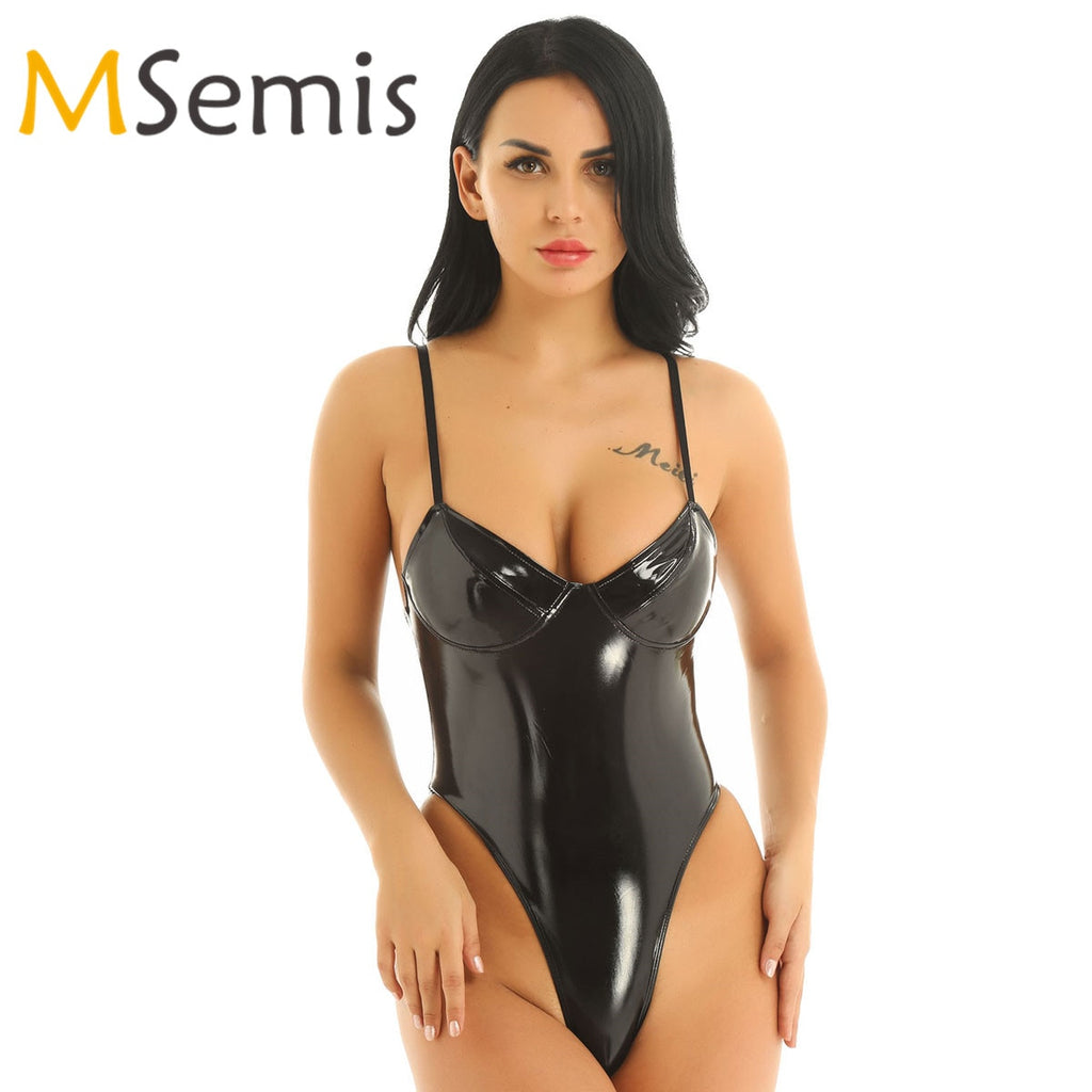 Women's Shiny Swimsuit Wetlook Patent Leather Thong Swimwear Front Plunging High Cut Thong Gymnastics Leotard Teddy Bodysuit