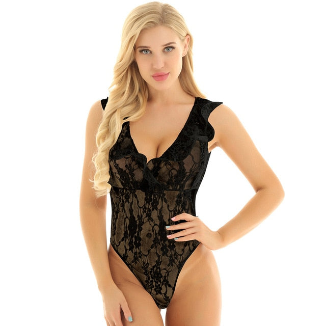 Women's Swimsuit High Cut Transparents Lace Lingerie Bodysuit Swimwear Sleeveless Female See Through Thong leotard Bodysuit - Smoulder Products