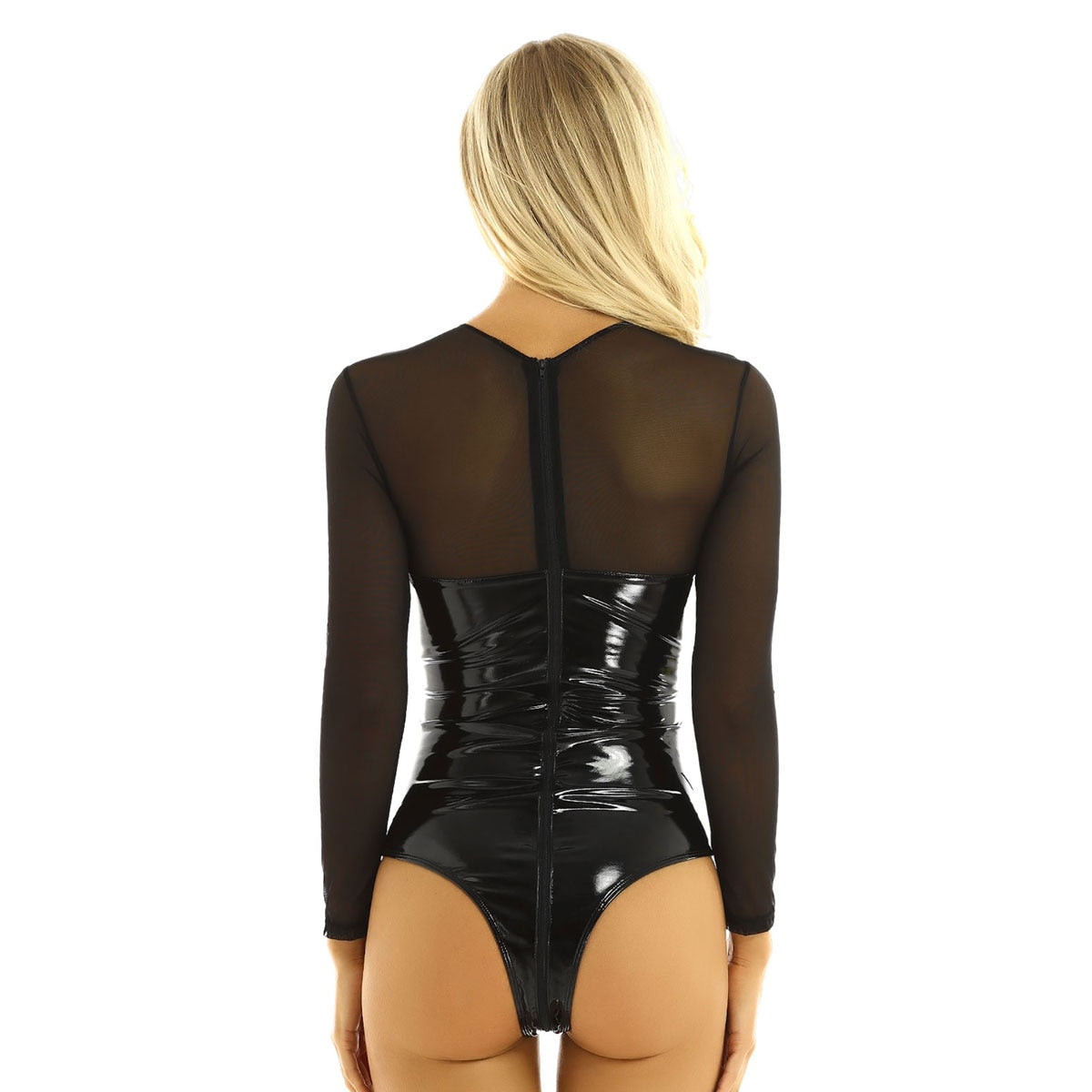 Women's Swimsuit One-piece Wetlook Patent Leather Bodysuit Lingerie Round Neck Swimwear Double Zipper High Cut Leotard Bodysuit - Smoulder Products