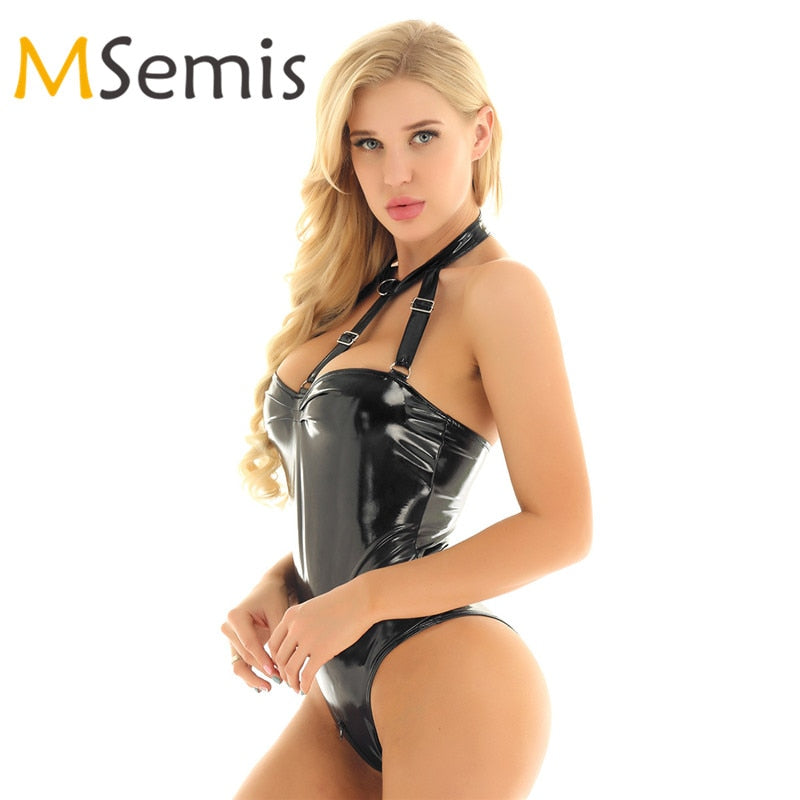 Women's Swimsuit One-piece Wetlook Patent Leather Halter Neck Sleeveless Strappy Bust High Cut Legs Teddy Bodysuit Culbwear - Smoulder Products