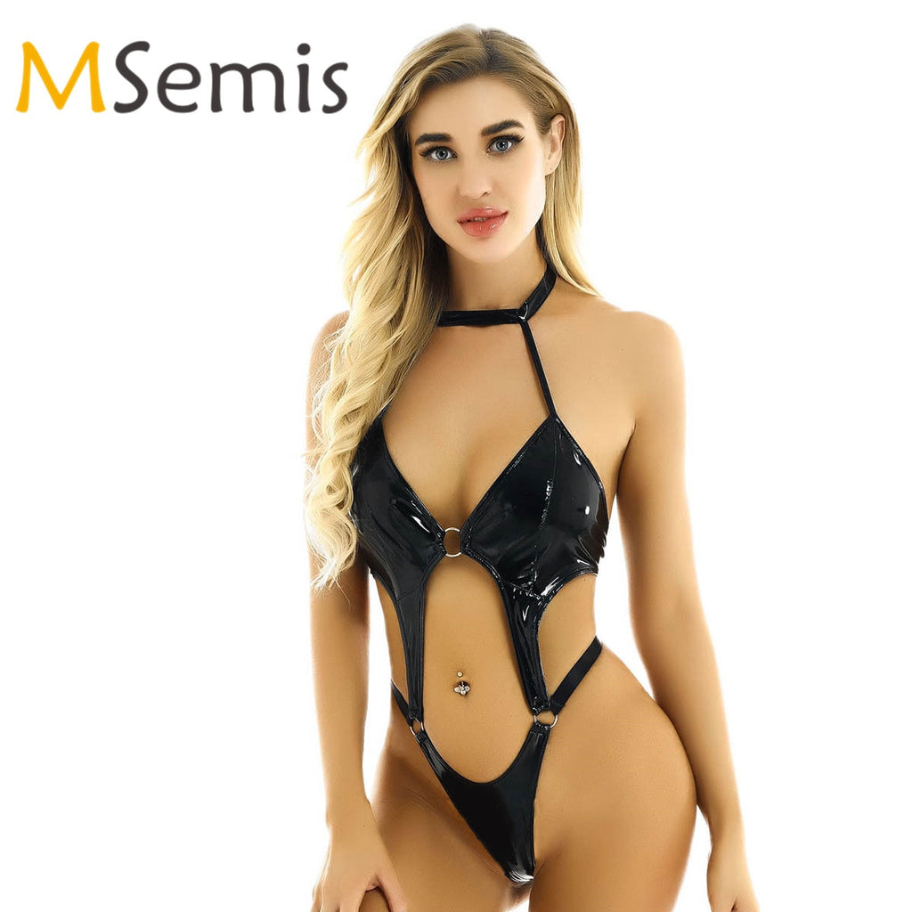 Women's Swimsuit Wet Look Patent Leather Lingerie Halter Neck Swimwear High Cut Thong Leotard Briefs Underwear Leotard Bodysuit