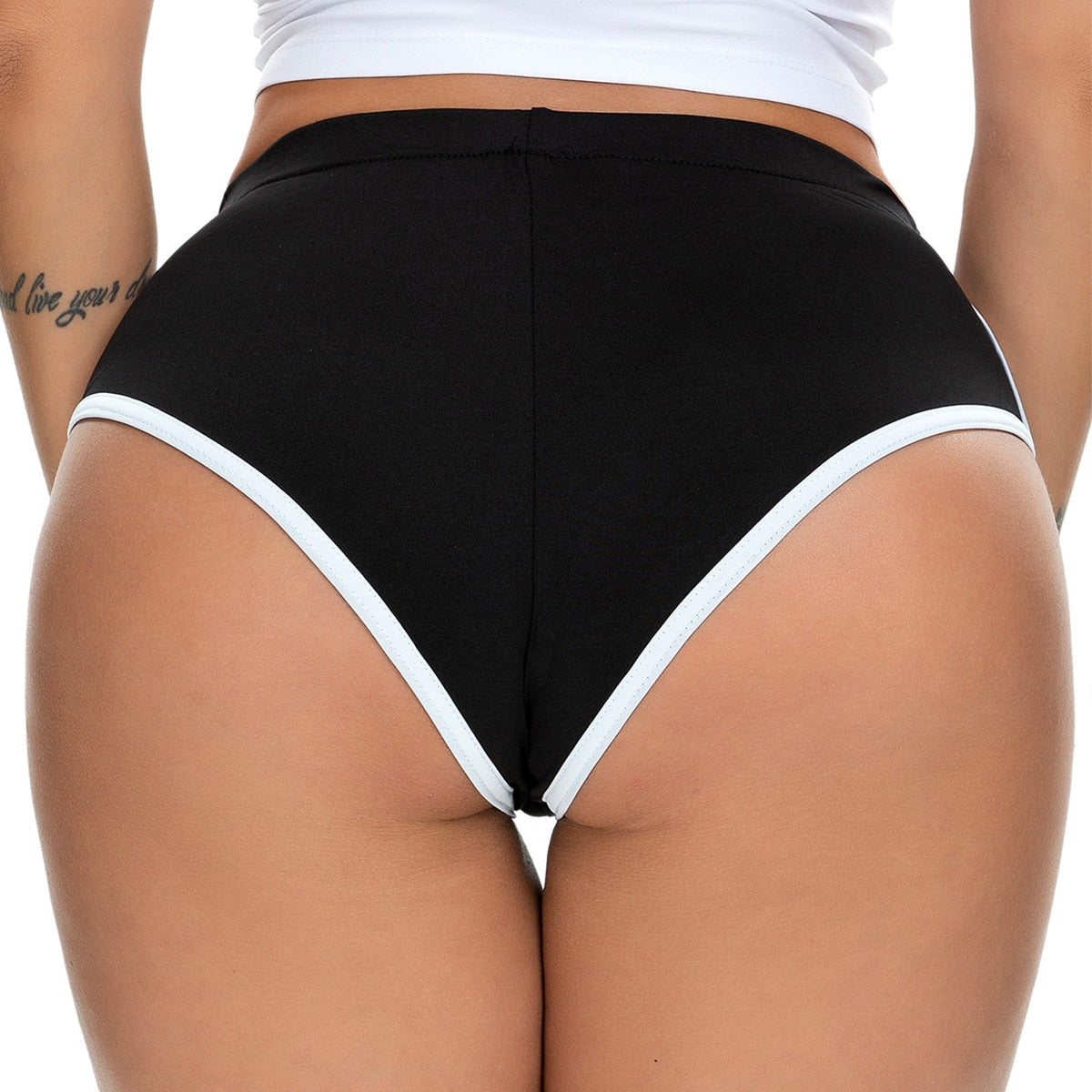 Women's Yoga Shorts Summer Mid-rise Elastic Waistband White Edge Booty Yoga Shorts Sports Gym Workout Fitness Dolphin Shorts - Smoulder Products