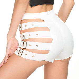 Womens High Waist Side Hollow Out with Buckle Belt Pencil Shorts Gothic Streetwear Short Pants Party Bar Clubwear - Smoulder Products