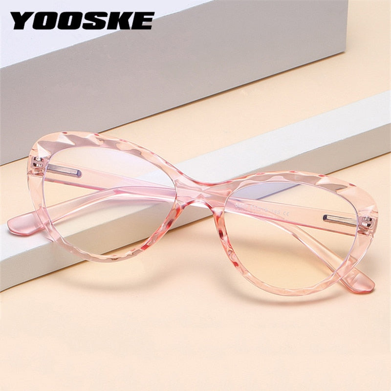 YOOSKE Cat Eye Glasses Frame For Women Ladies Fashion Anti-blue Light Eyeglasses Men Block Blue-ray Vintage Spectacle Frames - Smoulder Products