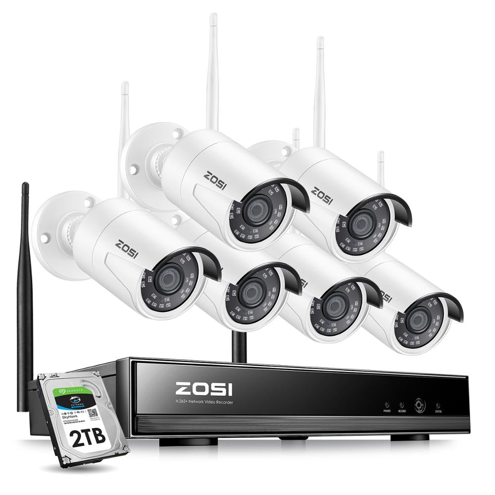 ZOSI 8CH 1080P H265+ Wifi NVR 2.0MP Security Camera System 2/6pcs IR Outdoor Waterproof CCTV Camera Wireless Surveillance System - Smoulder Products